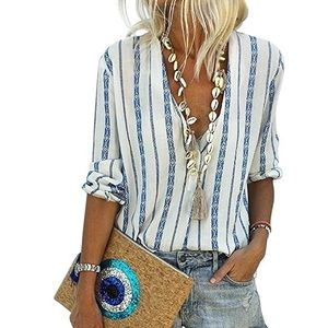 White with blue Aztec stripes blouse/long sleeve